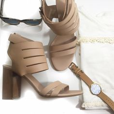 Vince Nude Cutout Ankle Strap Sandals Details: • Size 10 • Leather • Side zip • Velcro ankle strap • Block heel • Brand new in box   03211612 Vince Shoes Sandals