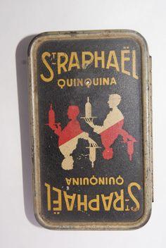 Ancienne boite publicitaire tole saint raphael quinquina jeu de carte collection