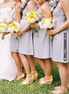super cute ruffles in a muted gray bridesmaid dress - and you had us with yellow flowers! | CHECK OUT MORE IDEAS AT WEDDINGPINS.NET | #bridesmaids
