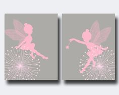 Fairy Nursery Wall Print, Baby Girl Pink and Gray Fairy Wall Print, Girls Bedroom Decor- N174,175 -custom color
