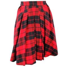 Preowned D&g Size 2 Red & Black Plaid Lana Wool Pleated Crinoline... ($224) ❤ liked on Polyvore featuring skirts, red, wool skirt, tartan skirt, knee length a line skirt, red wool skirt and plaid skirt