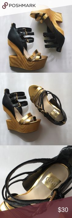 Dolce Vita V8 Wedges NEVER USED The perfect black and gold pair of statement shoes to add to any fashionista's wardrobe. Shoe tried on but never worn out. It has just been sitting pretty on my shoe shelf. In excellent condition, like new.  Heel 6in Platform 2in DV by Dolce Vita Shoes Wedges