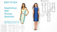 Pintucks: 7 Best Sheath Dress Patterns with Vintage Style: Easy to Sew Princess Line Dress, Princess Seam, Fabric Patterns, Dress Patterns, Sewing Patterns, Vintage Mode, Vintage Style, Altering Clothes, Sheath Dress