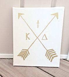 Sorority Canvas Kappa Delta Gold Arrow Canvas by CatchyCanvas Kappa Delta Crafts, Kappa Delta Sorority, Delta Phi Epsilon, Sorority Canvas, Alpha Sigma Alpha, Sorority Crafts, Sorority Paddles, Sorority Recruitment, Kappa Delta Canvas