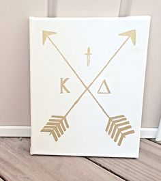 Sorority Canvas Kappa Delta Gold Arrow Canvas by CatchyCanvas