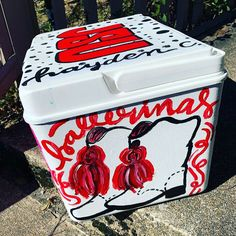 COOLERSbyU Painted Cooler Examples | Pink Cowboy Boots Cooler | Tags: cowboy, boots, pink cooler, painting Painted Coolers, Fraternity Coolers, Cooler Painting, Painting Inspiration, Tags, Create, Pink, Pink Hair, Mailing Labels