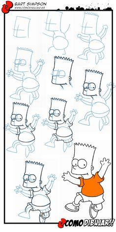 Como dibujar a Bart Simpson paso a paso: http://www.comodibujar.es/tutoriales-dibujo/como-dibujar-a-bart-simpson/