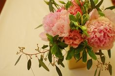 Fresh peonies, roses, lisianthus, and seeded eucalyptus   www.the-petal.com