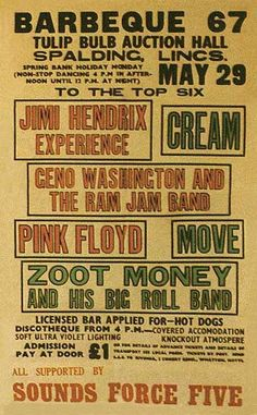 29.5.1967; jimi hendrix experience - cream - pink floyd - move - zoot money; gbr, spalding, tulip bulb auction hall;