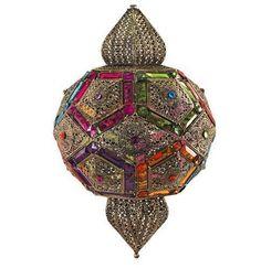 Lámpara colgante estilo árabe cristal color #decoracion #interiorismo #lamparas