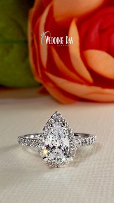This beautifully classic halo style engagement ring is set with a stunning 1ct pear shaped ECO 4 lab grown diamond in the center and is surrounded by a perfectly set diamond halo. It is sure to impress when you notice the extra diamonds hidden beneath the crown and totals 3/4ctw. *MATCHING BAND SOLD SEPARATELY.* Pear Diamond Rings, Diamond Wedding Rings, Halo Diamond, Wedding Consultant, Ring Watch, Dream Engagement Rings, Wedding Wishes, Ribbon Embroidery, Pear Shaped