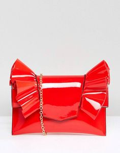 Shop the latest Missguided Patent Bow Clutch Bag trends with ASOS! Patent Leather Handbags, Leather Clutch, Leather Purses, Bow Purse, Bow Clutch, Bow Design, Red Purses, Christmas Fashion, Missguided