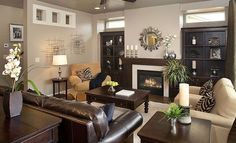 Brighton homes. Love the builtins around the fireplace!