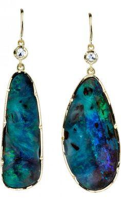 Irene Neuwirth Mismatched Boulder Opal & Diamond Earrings