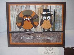 Grateful  Owl Turkey and Owl Pilgrim  by Lynda Lee  http://stampingdoc.blogspot.com/