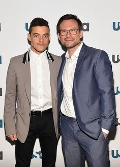 Rami Malek and Christian Slater attended the USA Network Upfront Press Conference Event for Mr Robot at the Rainbow Room in New York on April 7th 2015
