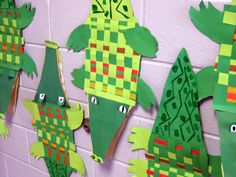"1st - weaving for the body of a crocodile originally came from pinterest. But art teacher Lauren came up with the genius idea to create crocodile puppets. The eyes pop up by giving them a ""foot."" Here's the lesson."