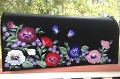 hand painted mailboxes with pansies available at: Http://www.CottageandCabana.com