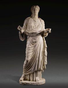 A Monumental Roman Marble Portrait Statue of a Woman, circa 2nd Century A.D.