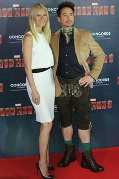 Getting into the spirit: Robert Downey Jr. opted for a comedic ensemble in customised lederhosen for the Munich photocall of Iron Man 3 on Friday, alongside co-star Gwyneth Paltrow Iron Man 3, Robert Downey Jr, Funny Images, Funny Pictures, Random Pictures, Funny Pics, 9gag Funny, Hilarious, Fun Funny