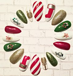 Christmas Stiletto Nail Set- Press on Nails- Glue on Nails- Acrylic Nails- Artificial Nails- Faux Nails- False Nails-Fake Nails-Glitter Nail