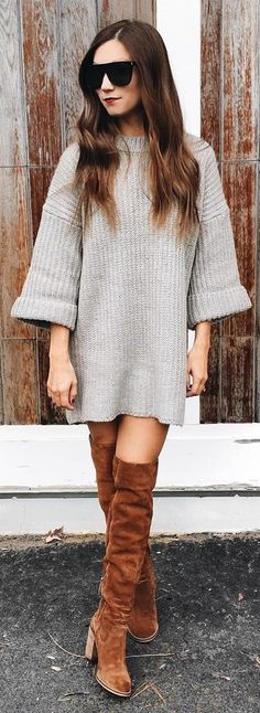 #winter #fashion / Grey Knit Dress + Camel Suede OTK Boots