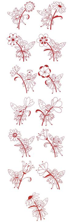 Sewing Machine Embroidery, Free Machine Embroidery Designs, Embroidery Applique, Cross Stitch Embroidery, Blackwork, Flower Fairies, Craft Patterns, Sewing Crafts, Needlework