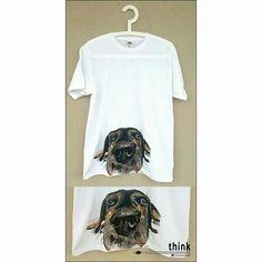 Handpainted  dog illustration on white t-shirt