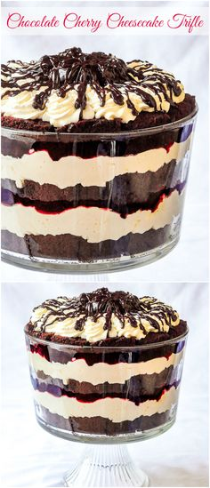Chocolate Cherry Cheesecake Trifle – layers of cake, chocolate sauce, cherry compote and cheesecake filling. A real celebration dessert that's terrific for serving large crowds.