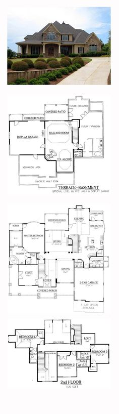 House Plan 50248 - European, Traditional Style House Plan with 4012 Sq Ft, 4 Bed, 5 Bath, 2 Car Garage Dream House Plans, House Floor Plans, My Dream Home, Dream Homes, Basement House Plans, Basement Bedrooms, Hillside House, Villa, European House