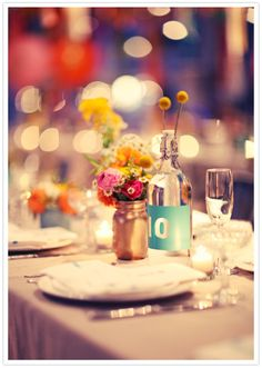 wine bottle table numbers :: Bash, Please via 100 Layer Cake Spray Paint Mason Jars, Gold Mason Jars, Spring Wedding, Our Wedding, Hotel Wedding, Wedding Bells, Bash, Wedding Decorations, Table Decorations