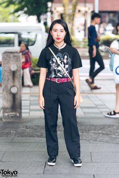 All Black Vintage Harajuku Fashion w  Kiss Band T-Shirt   Metallic Sling Bag 4fbbc088e
