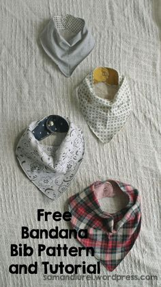 Make bandana bibs for your baby with this free pattern. Catch all the drips and drools while adding this cute bib to your babies outfits. Some babies are Baby Sewing Projects, Sewing Projects For Beginners, Sewing For Kids, Sewing Tips, Sewing Hacks, Sewing Tutorials, Sewing Ideas, Baby Clothes Patterns, Sewing Patterns Free