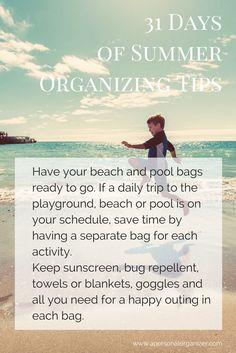 Summer organizing ideas. #summer #organizingtips