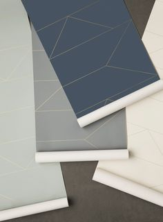 Ferm Living_Lines Wallpaper- White, Grey, Dark Blue, Mint
