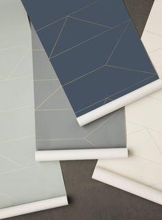 Ferm Living_Lines Wallpaper- White, Grey, Dark Blue, Mint