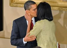 President Barack Obama With 1st Lady Michelle Obama In The Blue Room January 18, 2013