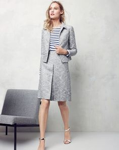 J.Crew women's zip jacket in black-and-white tweed, Saint James® for J.Crew slouchy T-shirt, A-line skirt in black-and-white tweed and mirror metallic high-heel sandals.