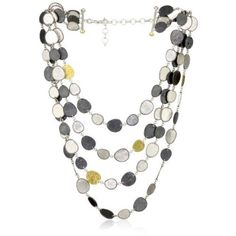 "GURHAN ""Contour"" Dark and White Silver with Gold Multi-Strand Necklace.  List Price: $3,995.00"