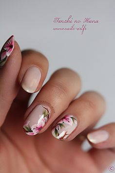 Gorgeous nude and pink floral freehand nail art #winterfloral...x