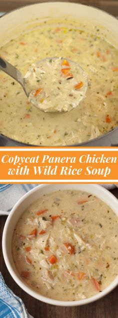 Copycat Panera Chicken & Wild Rice Soup Copycat Panera Chicken and Wild Rice Soup formula is basic, healthy, velvety, and tastes simply like my preferred soup at Panera Bread! It's lig… - Copycat Panera Chicken & Wild Rice Soup Crockpot Recipes, Cooking Recipes, Tasty Soup Recipes, Copycat Recipes, White Rice Recipes, Crock Pot Soup, Crockpot Chicken Rice Soup, Chicken Soup With Rice, Turkey Wild Rice Soup
