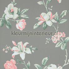Grote romantische bloemen grijs groen behang 17883 Interieurvoorbeelden behang BN Wallcoverings