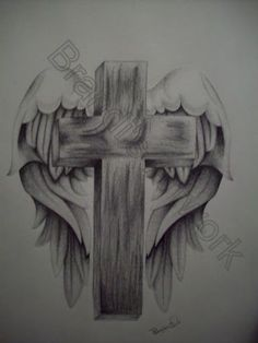 Wing Drawing Cross Tattoo Design Angel - Free Download Tattoo #26817 ...