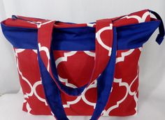 Extra Large Tote, Beach BAG, Zippered Knitting BAG, Diaper BAG, Red, White, Blue, Weekend Bag by BAGSbyMartha on Etsy