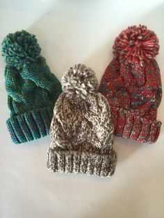 Women or teen Pompom knit cap. Choice of blue/green, gray/cream, or red/gray with your choice of custom guitar pick with musical lyric