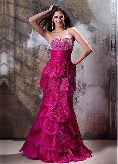 Amazing Glamorous Taffeta Satin A-line Sweetheart Neckline Empire Waistline Floor-length Prom Dresses