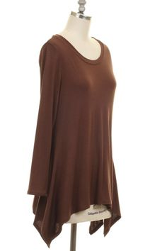 SOLID RAYON TUNIC TOP.