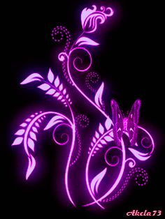 Neon flower and butterfly Neon Flowers, Butterfly Flowers, Beautiful Butterflies, Purple Butterfly, Purple Love, All Things Purple, Shades Of Purple, Purple Art, Movement Pictures