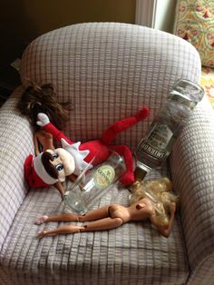 What happens when a Dad takes #Elf on the #Shelf duty ~  #NAUGHTY ELF! I just don't know what to say. A friend posted this and I had to pin it. Thought some Elf on the Shelfers would get a chuckle.