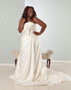 Natasha: Plus Size A Line Wedding Dress Satin | Real Size BrideReal Size Bride